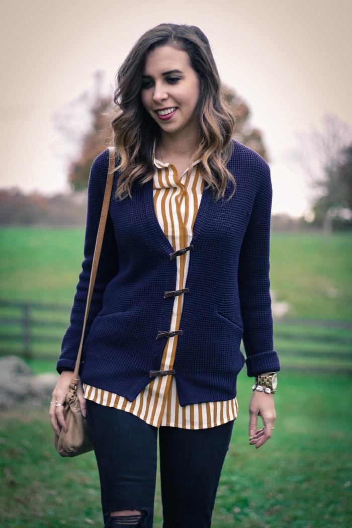 fall outfit. fall layers. virginia winery. knit sweater,. vertical stripe silk shirt. distressed black skinnies. va darling. 5