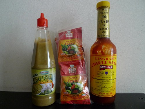 From left: Sambal Rawit, Sambal Terasi, and Lingham's Chilli Sauce