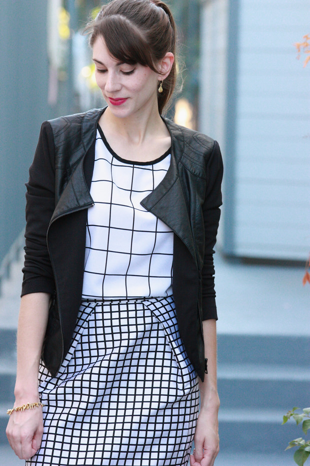 black and white grid print, leather jacket
