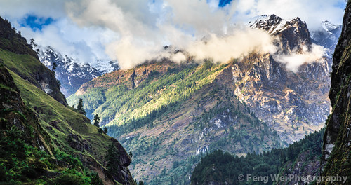 travel nepal panorama cloud mountain color beautiful horizontal trek landscape asia outdoor scenic hike remote annapurnacircuit annapurna himalayas chamje gandaki lamjung jagat annapurnaconservationarea