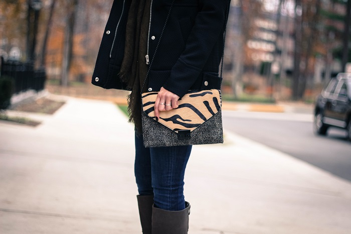 black winter jacket. green scarf. denim. knee high boots. loeffler randall calf hair bag. fall outfit. va darling. 7
