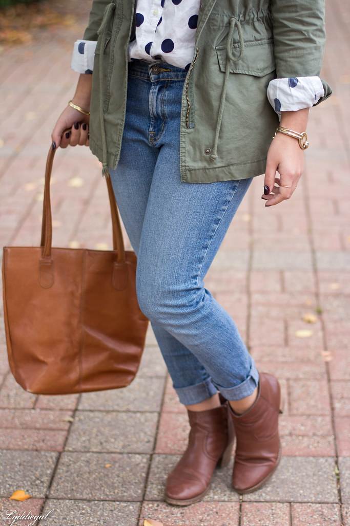 polka dot shirt, utility jacket, brown boots-7.jpg
