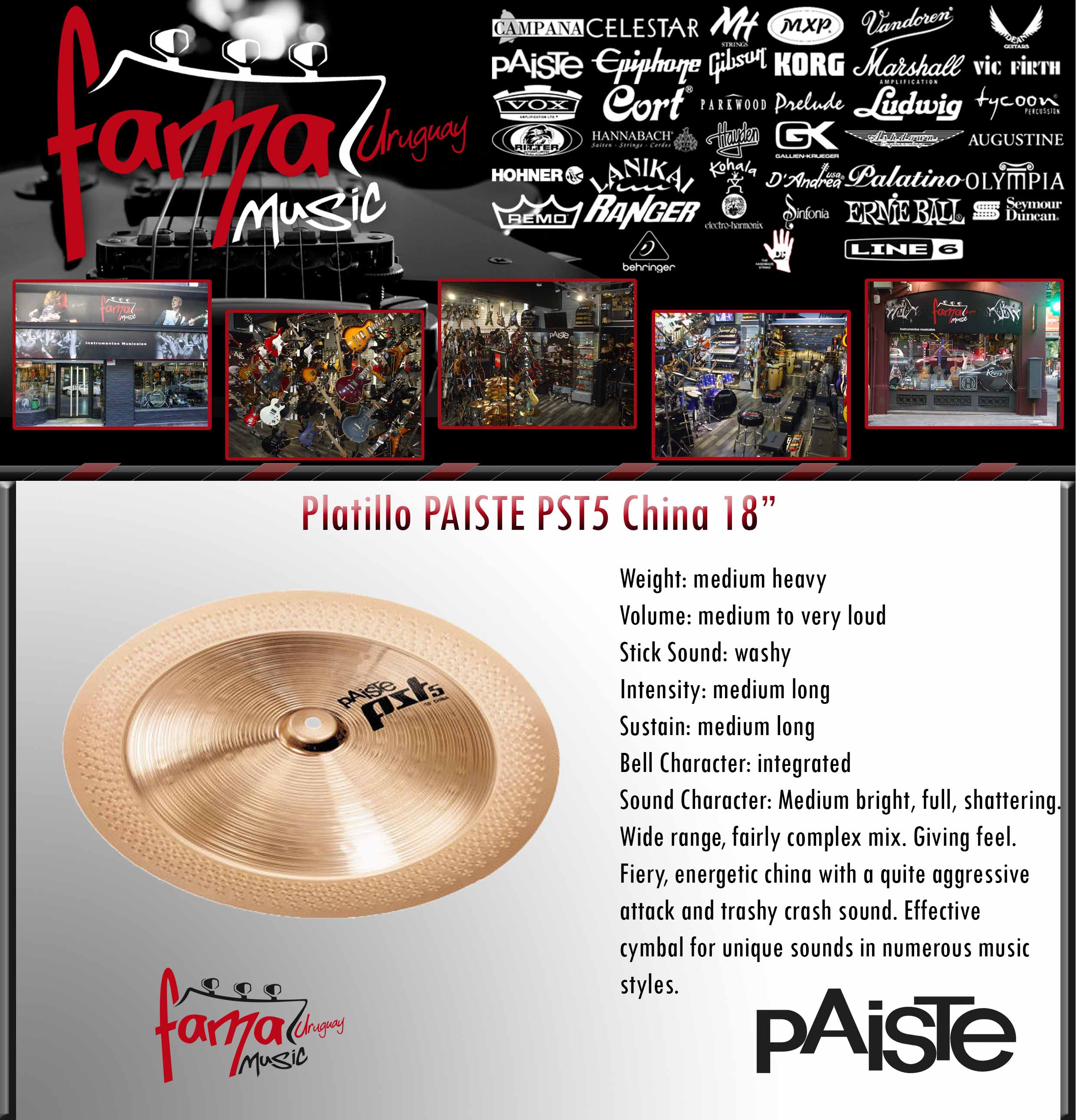 Platillo PAISTE PST5 China 18