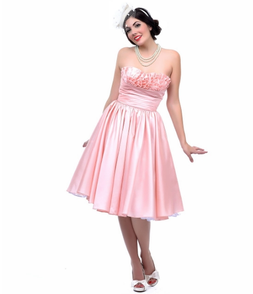 vAuRSZ68HS_PRE-ORDER_Unique_Vintage_Apricot_Taffeta_Strapless_Party_Dress