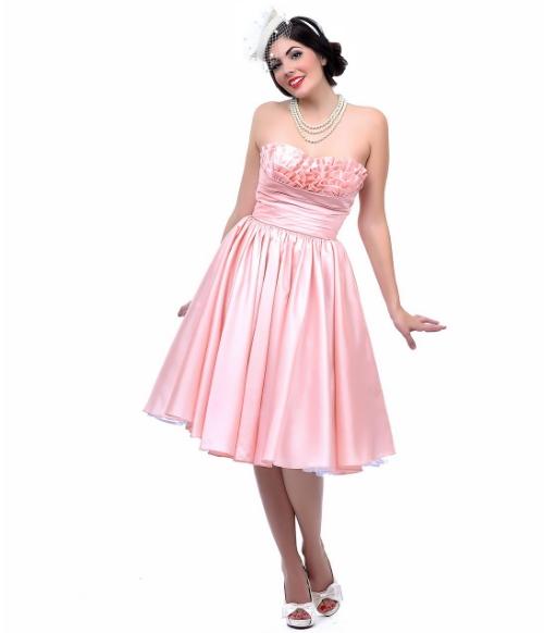 vAuRSZ68HS_PRE-ORDER_Unique_Vintage_Apricot_Taffeta_Strapless_Party_Dress