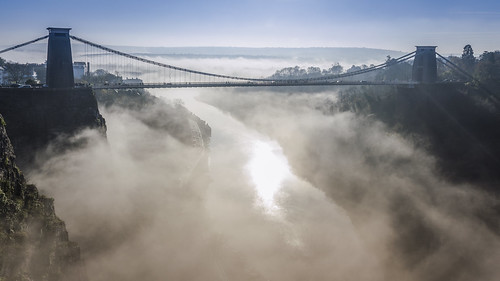 mist fog bristol cliftonsuspensionbridge