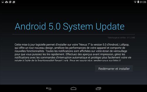 Andoid 5 sur Nexus 7