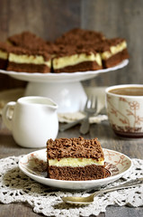 Chocolate cake with cottage cheese.