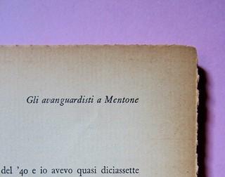 L'entrata in guerra, di Italo Calvino. Einaudi 1954. [Progetto grafico di Albe Steiner]. Incipit del racconto: l'indicazione del titolo è in alto a destra, a pag. 11 (part.), 2