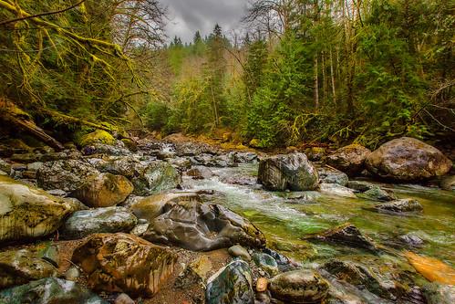 rain river moss boulders wilbur onone snoqualmieriver twinfallsstatepark twinfallstrail