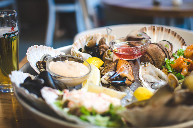 "A massive platter of seafood at the aptly named ""Seafood Bar"" in Amsterdam, Netherlands."