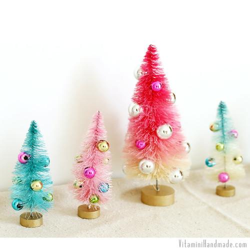 DIY Dip Dyed Bottle Brush Trees   www.vitaminihandmade.com