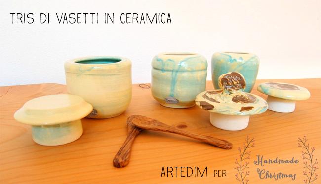 handmade christmas, regali di natale, set-di-vasetti-di-ceramica