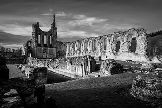 Image of Byland Abbey. uk sky blackandwhite abbey geotagged byland englishheritage bylandabbey olympusm1442mmf3556iir olympusomdem10
