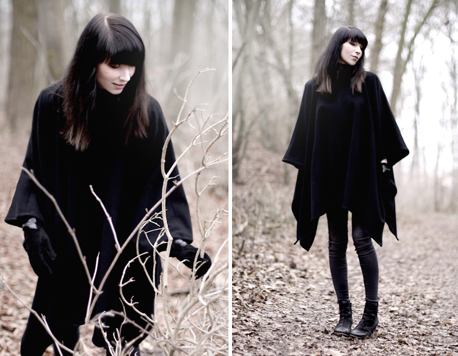 forest dark mystic scary black cape witch girl brunette bangs skinny babe winter wild wanderlust nature blog fashion fashionblog hannover germany 3