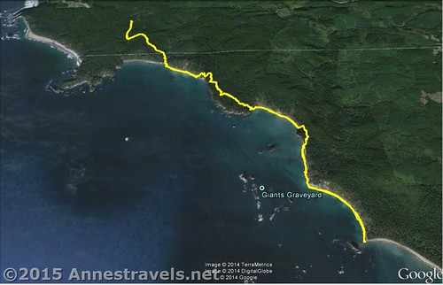 Visual map of my route to Third Beach then south to Strawberry Point in Olympic National Park, Washington