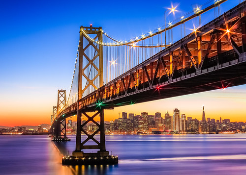 sanfrancisco city bridge sunset water skyline night island lights evening bay twilight cityscape treasure purple sparkle clear yerba span buena