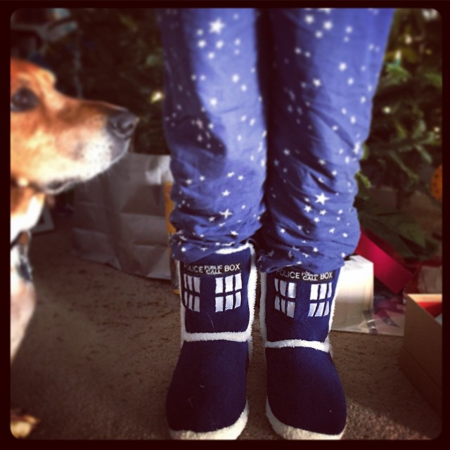New slippers! Yay! Hope your day is full of warmth and geekery. #taralovesChristmas #merrychristmas