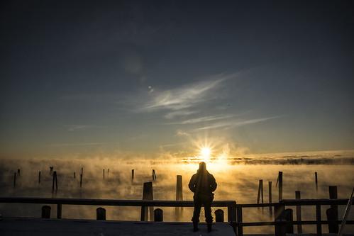 review rockland maine cold winter ocean rocklandme seasmoke fog sunrise kat