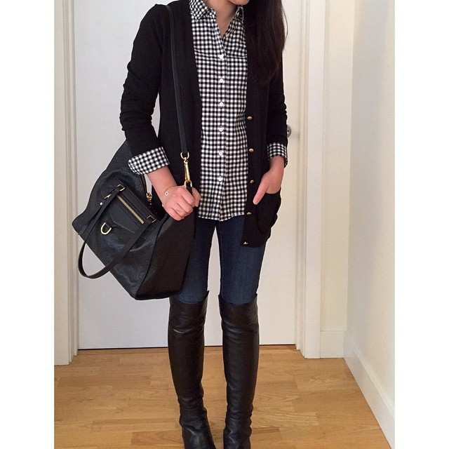 Yesterday's #ootd in black and white @jcrew #gingham. 👯 // Link to the exact #stuartweitzman #otkboots and similar shirt @liketoknow.it www.liketk.it/PfeE #liketkit