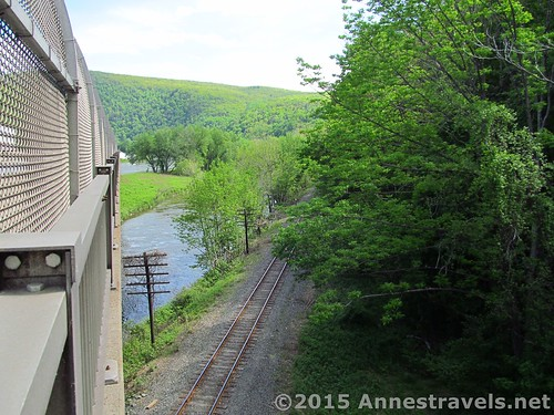 The railroad tracks that run under I-80 and the Appalachian Trail beside the Delaware River, Delaware Water Gap National Recreation Area, Pennsylvania