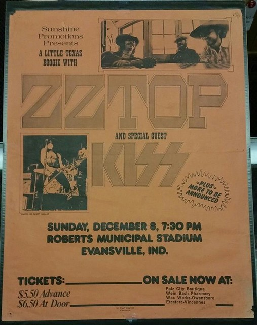 12/08/74 ZZ Top/ Kiss/ Point Blank @ Roberts Municipal Stadium, Evansville, IN