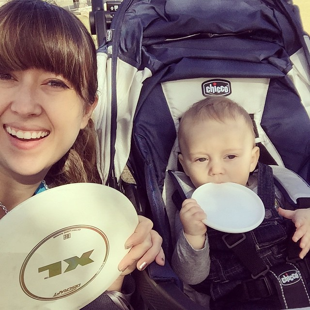 Frisbee golf with my little man... He gets points just for chewing on his... by bartlewife