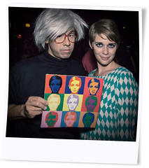 Polaroid effect shot of Andy Warhol and Twiggy