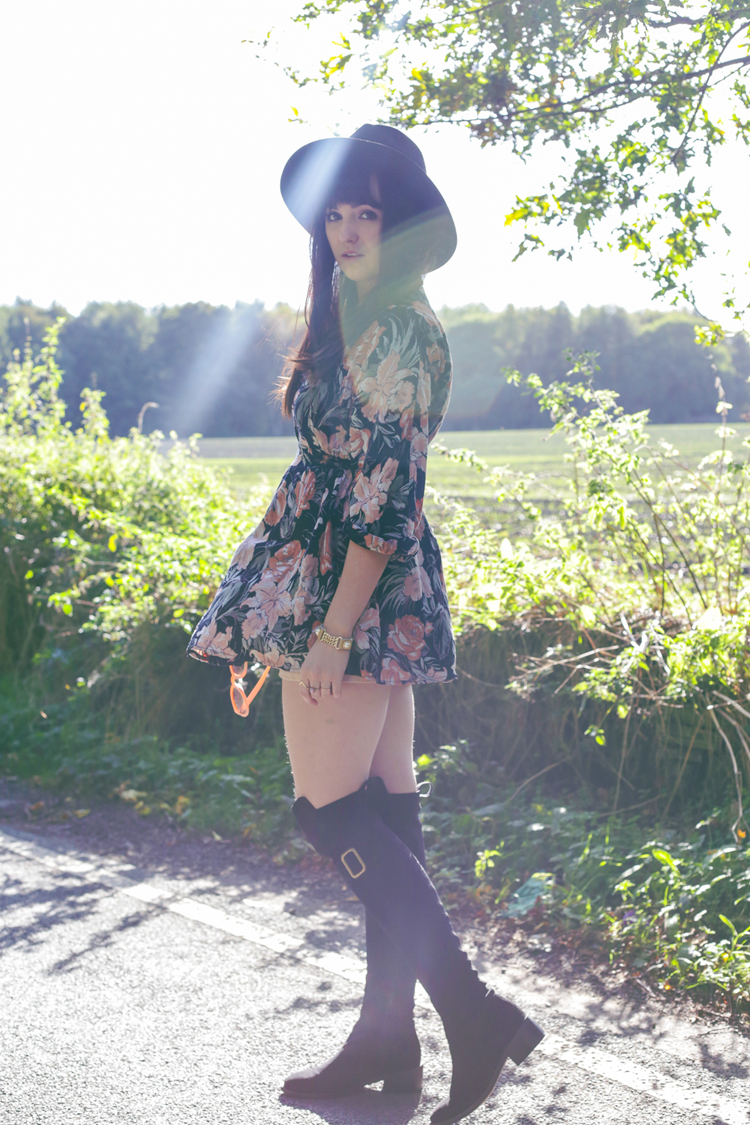 knee high boots, bohemian girl, fashion outfit, floral vintage dress