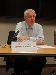 Ambassador Robert Orr gave candid remarks at the off-the-record event about the current status of the Asian Development Bank.