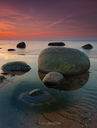 sunset red sea sky orange seascape water sunrise landscape nikon rocks gulf baltic latvia boulders filter riga d800 latvija 16354 singhray melsitov
