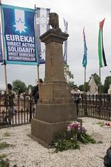 Flowers laid on Eureka Diggers memorial at Old Ballarat Cemetery - Eureka160-IMG_9432
