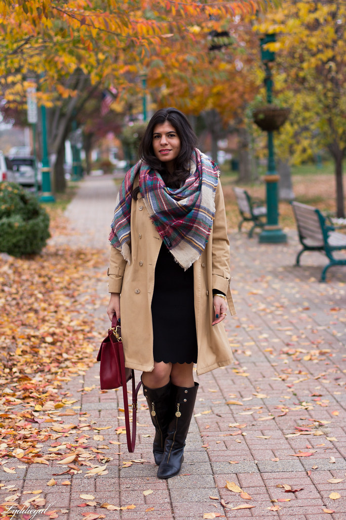 black dress, trench coat, blanket scarf.jpg