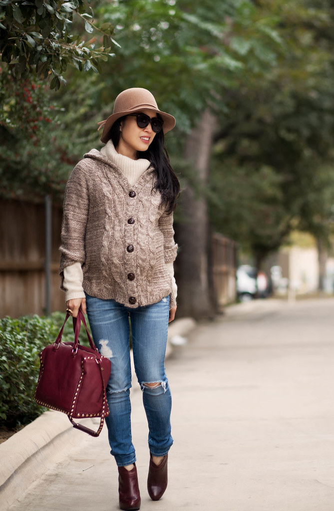 cute & little blog | petite fashion | maternity baby bump pregnant | knit cape poncho wool sweater, cowl sweater, distressed jeans, burgundy ankle boots, taupe wool felt floppy hat, burgundy studded satchel | winter layering outfit | third trimester
