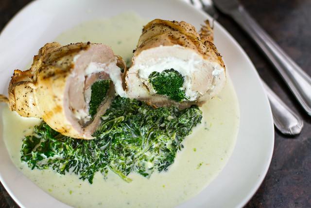 Grilled Spinach, Pancetta, & Goat Cheese Chicken Rolls