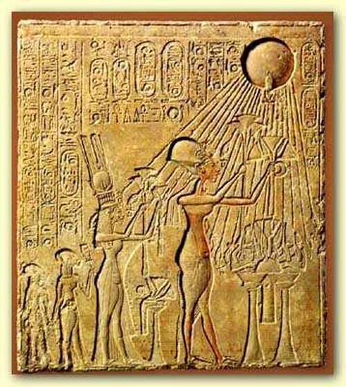 Pharaoh Akhenaten and his family worshiping the Aten, the single god in Akhenaten's religion