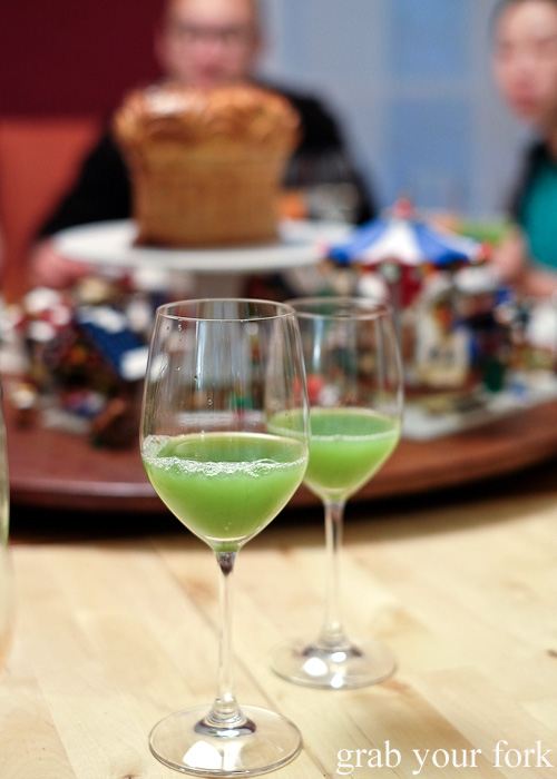 Cucumber, kohlrabi and yuzu juice pairing at the Stomachs Eleven Christmas dinner 2014