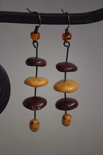 Cinnamon and orange porcelain dropp earring set E- 0174