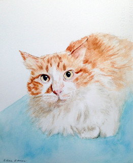 watercolor portrait of Lizzie, a Christmas Portrait