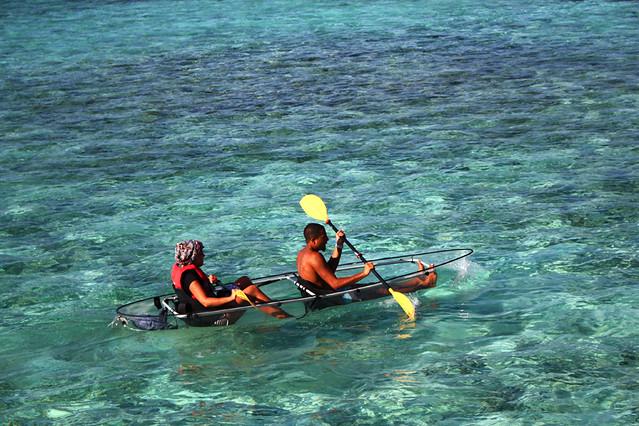 Glass bottom canoe - Maldives