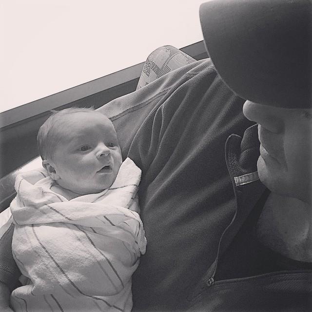 Togetherness and 2 days old. #newborn #fatherhood #kidstagram #kidsofinstagram #baby #meandwee