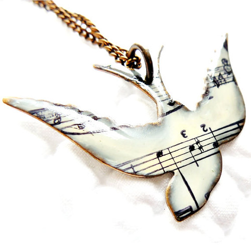 Songbird Sheet Music Necklace from Etsy Shop SusanAnna