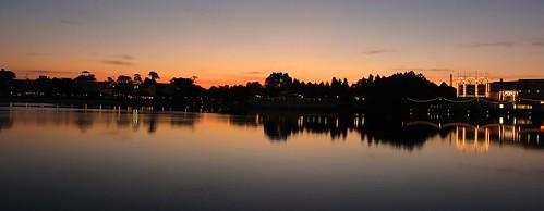 sky sunlight lake water sunrise reflections scenic disney disneyworld wdw waltdisneyworld centralflorida disneysboardwalkresort stormalongbay boardwalkresort disneysboardwalkinn canoneosrebelt5 chadsparkesphotography