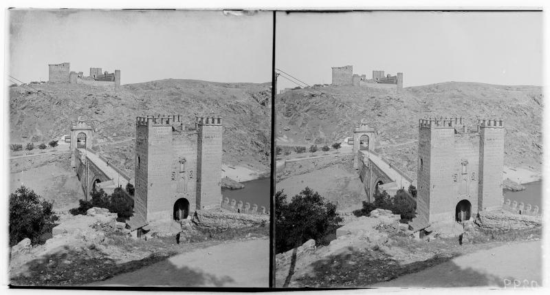Puente de Alcántara y Castillo de San Servando hacia 1900. Fotografía de Alois Beer © Österreichische Nationalbibliothek