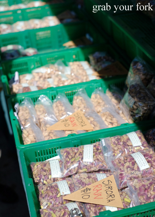 Chemical-free raw pistachio varieties at Abbotsford Convent Slow Food Farmers Market