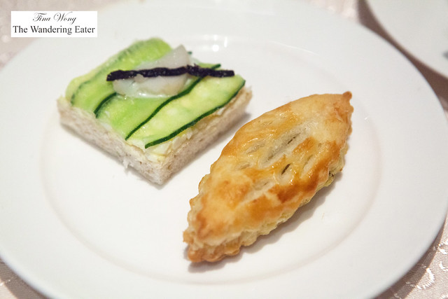 Cucumber tea sandwich and savory pastry
