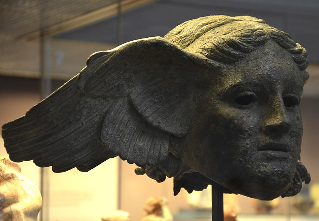 Bronze head of Hypnos (god of sleep), 1st - 2nd century AD, copy of an Hellenistic original, found at Civitella d'Arno (near Perugia, Italy), British Museum, London