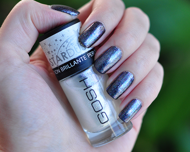 stylelab beauty blog Gosh Stardust nail lacquers swatches 628 Stardust top coat