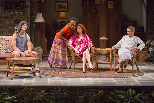 Tyler Lansing Weaks, Haneefah Wood, Candy Buckley, and Martin Moran in Christopher Durang's smash-hit Broadway comedy Vanya and Sonia and Masha and Spike, directed by Jessica Stone, based on the Broadway direction of Nicholas Martin, playing January 2 – February 1, 2015 at the BU Theatre / Avenue of the Arts. Photo: Jim Cox