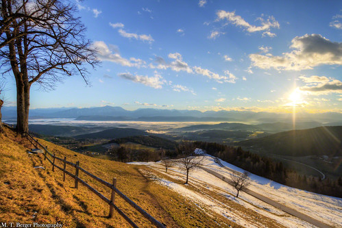 winter sun mountain tree fence landscape austria view mountainview amazingview magdalensberg mtberger